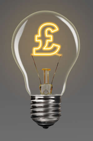 filaments: bulb with glowing pound sign inside of it, financial creativity concept Stock Photo