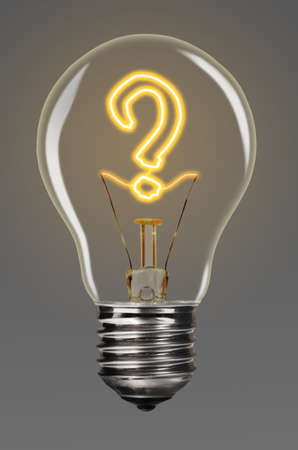 bulb with glowing question mark inside of it, creativity concept photo