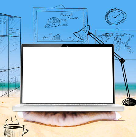 virtual office: working remotely in virtual office using laptop on beach