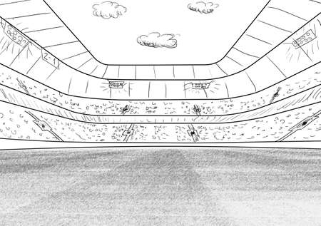 competitive sport: sketch of soccer or football stadium background