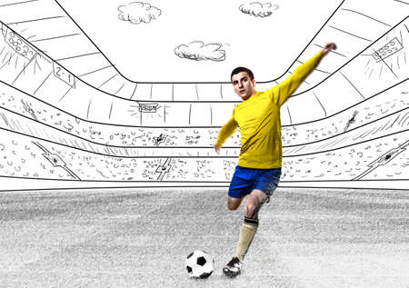 football player: soccer or football player is kicking ball on stadium Stock Photo