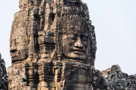 bayon: Prasat Bayon, part of Angkor Khmer temple complex, popular among tourists ancient landmark and place of worship in Southeast Asia. Siem Reap, Cambodia. Stock Photo