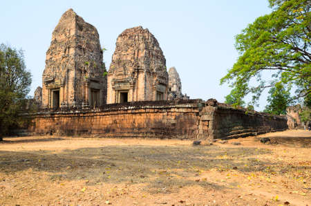 East Mebon, part of Khmer Angkor temple complex, popular among tourists ancient landmark and place of worship in Southeast Asia. Siem Reap, Cambodia.