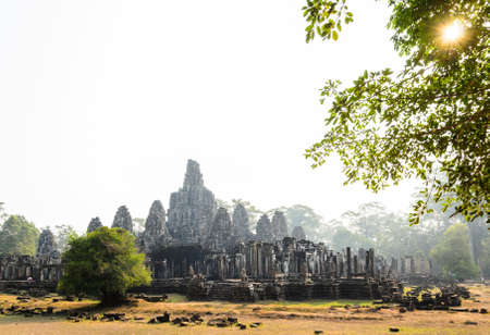 Prasat Bayon, part of Angkor Khmer temple complex, popular among tourists ancient landmark and place of worship in Southeast Asia. Siem Reap, Cambodia. 写真素材