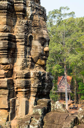 siem reap: Prasat Bayon, part of Angkor Khmer temple complex, popular among tourists ancient landmark and place of worship in Southeast Asia. Siem Reap, Cambodia. Stock Photo
