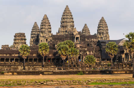 Angkor Wat, part of Khmer temple complex, popular among tourists ancient lanmark and place of worship in Southeast Asia. Siem Reap, Cambodia.