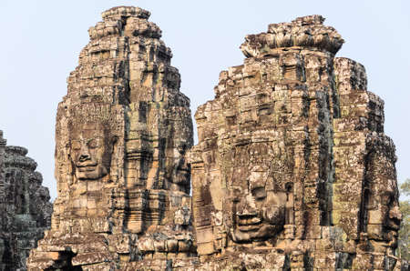 prasat bayon: Prasat Bayon, part of Angkor Khmer temple complex, popular among tourists ancient lanmark and place of worship in Southeast Asia. Siem Reap, Cambodia. Stock Photo