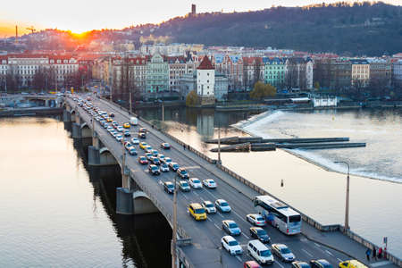 traffic jam: sunset view of Prague old town, Czech Republic