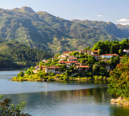 portugal: scenic view of Cavado river and Peneda-Geres National Park in northern Portugal.