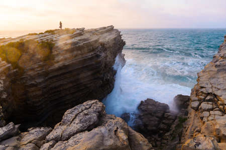 cliff edge: ocean coastline in Peniche, Portugal