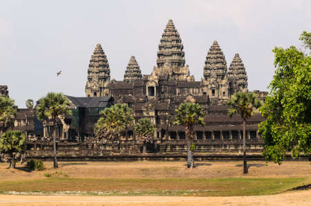 khmer: Angkor Wat, part of Khmer temple complex, popular among tourists ancient lanmark and place of worship in Southeast Asia. Siem Reap, Cambodia.