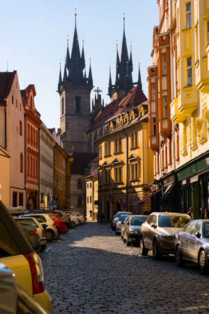 oldtown: Prague Tyn Cathedral sunset view from old town street, Czech Republic Stock Photo