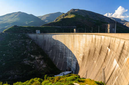 hydro: scenic view of dam on Homem river and Peneda-Geres National Park in northern Portugal. Stock Photo