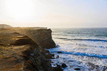 sea cliff: ocean coastline in Peniche, Portugal