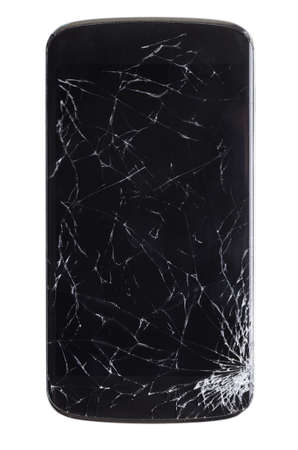 cracked: modern smartphone with cracked screen in one corner, isolated on white background