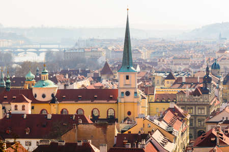 oldtown: beautiful view of Prague old town roofs, Czech Republic