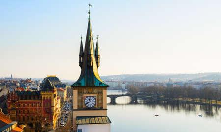 sunset view of Prague old town and clock tower, Czech Republic Reklamní fotografie