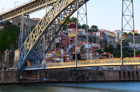 dom: view of Dom Luis I bridge in Porto, Portugal