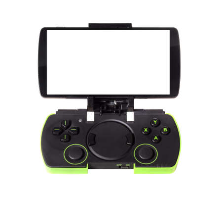 gamepad: modern smartphone connected with gamepad, isolated on white background Stock Photo