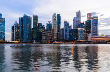 marina bay: sunset view of Singapore downtown and marina bay