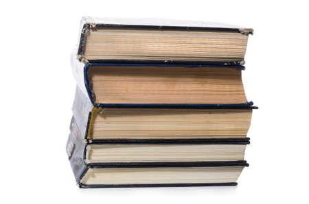 libros antiguos: montón de libros aislados en fondo blanco  Foto de archivo