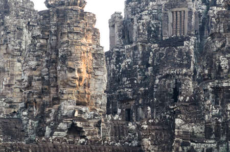 place of worship: Prasat Bayon, part of Angkor Khmer temple complex, popular among tourists ancient lanmark and place of worship in Southeast Asia. Siem Reap, Cambodia. Stock Photo
