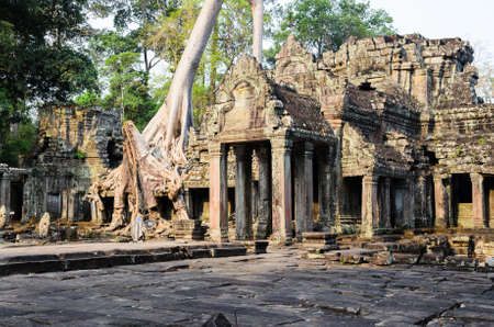 Preah Khan, part of Khmer Angkor temple complex, popular among tourists ancient lanmark and place of worship in Southeast Asia. Siem Reap, Cambodia.