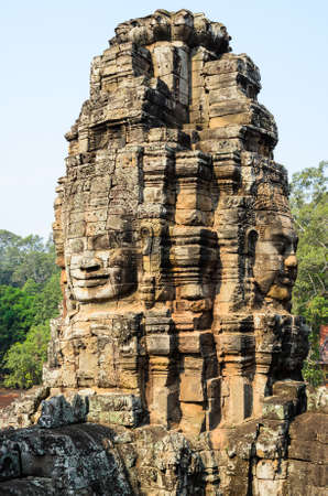 bayon: Prasat Bayon, part of Angkor Khmer temple complex, popular among tourists ancient lanmark and place of worship in Southeast Asia. Siem Reap, Cambodia. Stock Photo