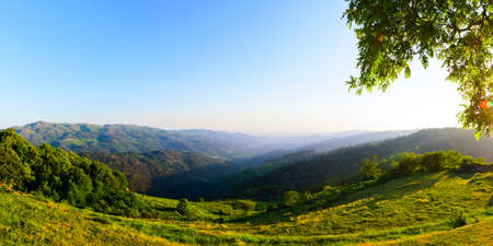 sunny day: scenic view of sunset mountains at Peneda-Geres National Park in northern Portugal.