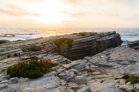 rock cliff: ocean coastline in Peniche, Portugal
