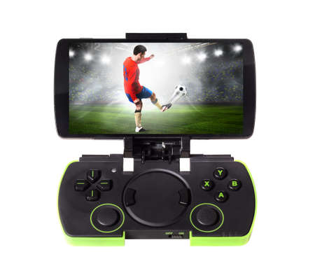 remote control: playing sports game. Modern smartphone connected with gamepad, isolated on white background