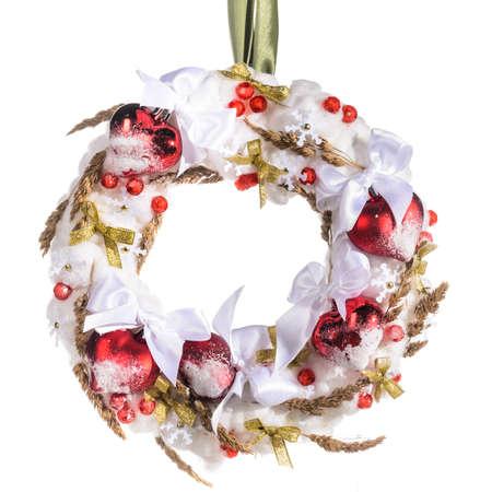 over white background: Christmas decorative wreath over white background