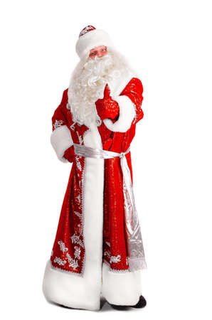 old man happy: santa claus is showing thumbs up isolated on white Stock Photo
