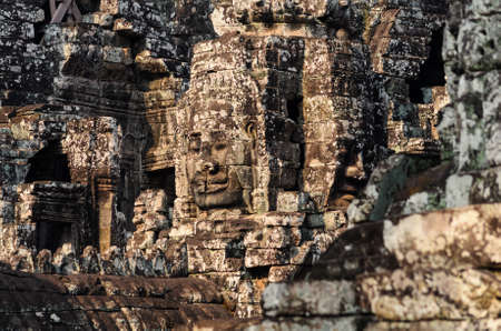 prasat bayon: Prasat Bayon, part of Angkor Khmer temple complex, popular among tourists ancient landmark and place of worship in Southeast Asia. Siem Reap, Cambodia. Stock Photo