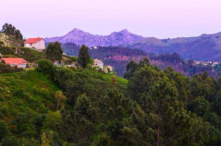 marvelous: marvelous purple mountain peaks at Peneda-Geres National Park in northern Portugal. Stock Photo