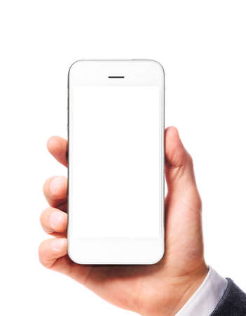 blank screen: modern smartphone with blank screen in businessman hand isolated on white background