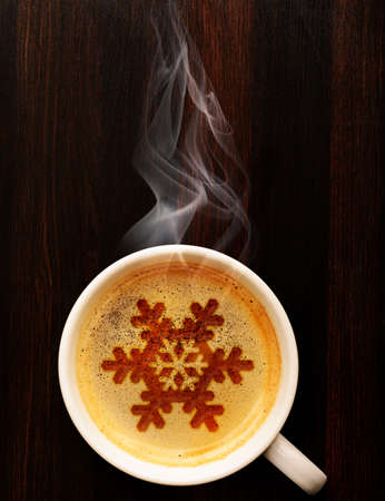 top of the year: cup of fresh coffee on table, view from above Stock Photo