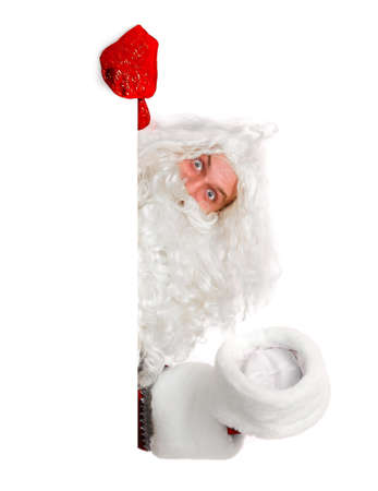 peep out: santa claus is looking out of white board, isolated on white