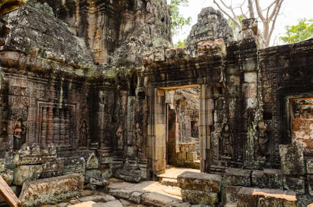 place of worship: Ta Prohm, part of Khmer Angkor temple complex, popular among tourists ancient landmark and place of worship in Southeast Asia. Siem Reap, Cambodia. Stock Photo