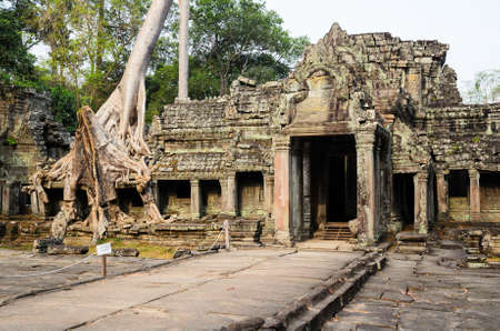 Preah Khan, part of Khmer Angkor temple complex, popular among tourists ancient landmark and place of worship in Southeast Asia. Siem Reap, Cambodia. Stock Photo