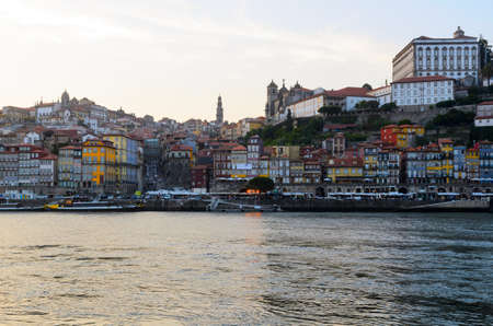 douro: sunset view of Douro river and skyline of Porto, Portugal