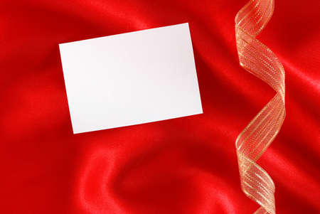 golden ribbons: Red silk and golden ribbons background