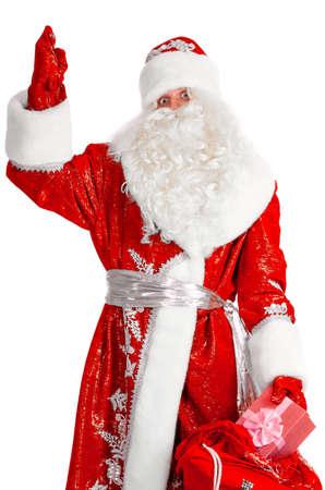 hombre con sombrero: Pap� Noel con caja de regalo, aislado en blanco Foto de archivo
