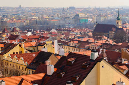czech republic: beautiful view of Prague old town roofs, Czech Republic
