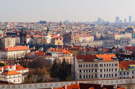 oldtown: panoramic view on Charles bridge and Prague old town from above, Czech Republic Stock Photo