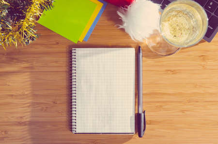glass paper: office desk with christmas accessories and stationery, view from above