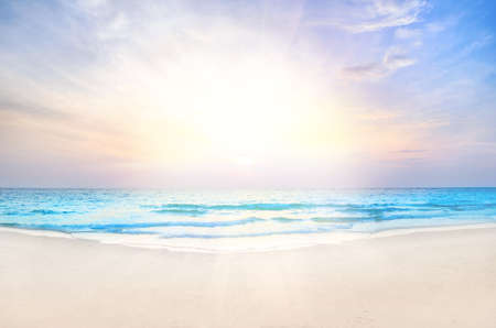 Tropical beach and sea at sunrise, beautiful colorful holiday background