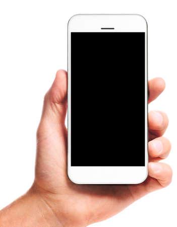 Smartphone moderno con el corazón en la mano masculina aislada sobre fondo blanco