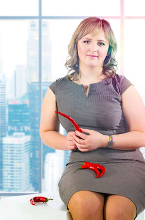 plus sized: young caucasian plus sized business woman portrait