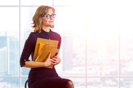 young caucasian business woman portrait Standard-Bild